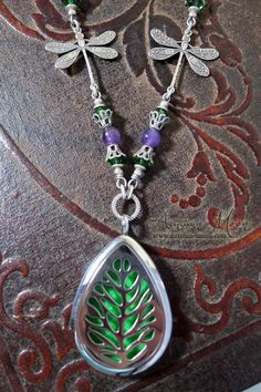 Dragonfly Forest oil diffuser locket necklace www.autumn-moon.com #dragonfly #aromatherapylocet #oillocket #amethyst