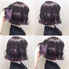 .____lavender.ちょと高い位置のインナーカラー◎#ラベンダー#ブルーラベンダー Hair Color Streaks, Hair Dye Colors, Hair Color Dark, Hair Highlights, Underdye Hair, Dye My Hair, Cabelo Inspo, Hidden Hair Color, Short Grunge Hair
