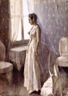 The Bride by Anders Zorn, watercolor.