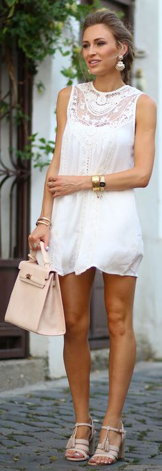 Fashion Spot White And Nude Sleeveless Lace Dress Night Date Girly Outfit Idea