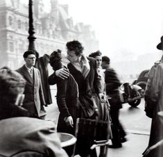 """Today April 14th 2012, is the 100th anniversary of French photographer Robert Doisneau's birthday and Google honors him with their Google Doodle. He was the man behind the famous """"The Kiss at the Hotel de Ville"""" (Town Hall) more at:"""