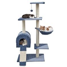 YHUISEN Cat Tree Pet Luxury Scratcher Kitten Scratching Post Natural Sisal Cat Toys With Ball Blue *** You can get more details by clicking on the image. #CatScratchersandFurniture