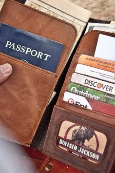 Riverton Leather Passport Wallet for Men - Whiskey & Walnut