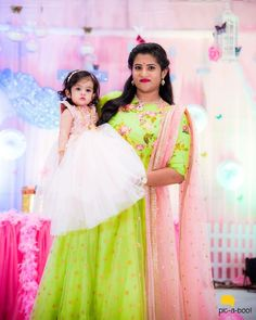 Mom And Baby Dresses, Gowns For Girls, Flower Girl Dresses, Baby Birthday Dress, Birthday Dresses, Anarkali Gown, Saree, Kids Frocks Design, Wedding Bride