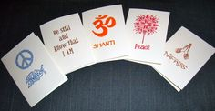 Hand Stamped Yoga Note Card 10 of sales go to by blissfulturtle, $2.00