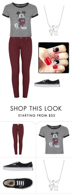 """""""I love maroon"""" by pugsrool ❤ liked on Polyvore featuring Paige Denim, Topshop, Vans, Disney, women's clothing, women's fashion, women, female, woman and misses"""