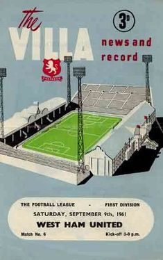 Aston Villa 3 Everton 2 in Sept 1960 at Villa Park. The programme cover Rotherham United, Leyton Orient, Aston Villa Fc, Bolton Wanderers, Blackburn Rovers, Football Design, Football Art, Villa Park, Nottingham Forest