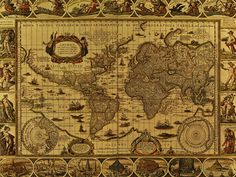 Old World Map Cross Stitch Pattern by WildStitchDesigns on Etsy Antique World Map, Old World Maps, Old Maps, Antique Maps, Ocean At Night, Pirate Maps, Map Quilt, Map Background, Treasure Maps