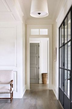 Home Office Design Grey Interiors 21 New Ideas Painted Interior Doors, Interior Barn Doors, Painted Doors, Interior Design And Build, Gray Interior, Wooden Flooring, Hardwood Floors, Black French Doors, Indoor Barn Doors