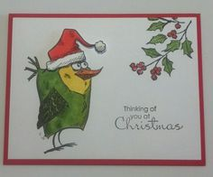 Bird Christmas by muscrat - Cards and Paper Crafts at Splitcoaststampers Crazy Bird, Crazy Dog, Crazy Cats, Crazy Animals, Cat Cards, Bird Cards, Christmas Bird, Animal Cards, Scrapbook Cards