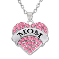 CULOVITY Grandma Mother Sister Daughter Necklace - Crystal Heart Pendant Necklace Love You Forever Gift for Womens Girls Family Member Engraved Necklace, Rhinestone Necklace, Crystal Rhinestone, Heart Pendant Necklace, Crystal Necklace, Chain Necklaces, Heart Jewelry, Jewelry Gifts, Statement Jewelry