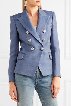 Balmain | Double-breasted wool-hopsack blazer | NET-A-PORTER.COM