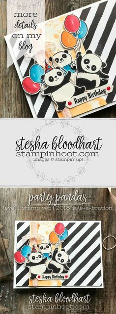 Party Panda Sale-A-Bration 2018 Stamp Set by Stampin' Up! for Sketch Challenge. Created by Stesha Bloodhart, Stampin' Hoot! Bday Cards, Kids Birthday Cards, Handmade Birthday Cards, Panda Party, Karten Diy, Stamping Up Cards, Animal Cards, Up Girl, Cool Cards