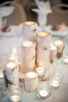 Tidewater Birch Candle Wedding Centerpiece Ideas