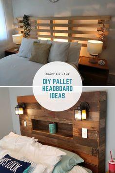 Diy Bed Headboard, Headboard With Shelves, Headboard Designs, Diy Headboards, Headboard Ideas, Wood Pallet Headboards, Bedroom Ideas, Pallet Furniture Designs, Pallet Designs