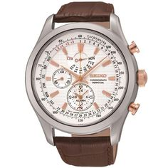 Shop for Seiko Men's Neo Chronograph Alarm Perpetual Brown Leather Watch. Get free delivery On EVERYTHING* Overstock - Your Online Watches Store! Seiko Diver, Mens Watches Leather, Leather Men, Brown Leather Watch, Seiko Men, Online Watch Store, Online Shopping, Seiko Watches, Luxury Watches For Men