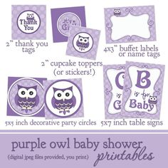 Purple Owl Baby Shower Printable Decorations by lilsproutgreetings, $10.00