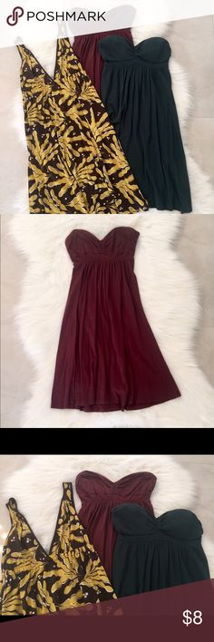 Dress Bundle - burgundy, green & yellow/brown, SM Dresses have been worn a couple of times. In very good condition! Clean and smoke-free home. Bundle of two sweetheart/strapless dresses, size Small, and v-neck dress with yellow and brown pattern. Good for lounging or the beach! Dresses Strapless