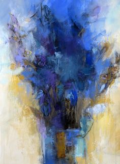 Blue Bouquet (study for a large painting) 30x22.5 acrylic, charcoal and gold gesso on watercolor paper by Debora L. Stewart