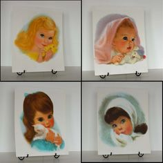 """Set of 4 Northern Tissue girls done in soft focus pastels by Frances Hook. Each portrait measures 11"""" x 14"""" and is printed on """"fine white vellum...suitable for framing"""". 1958-1966 promotional series """"Soft as my blanket, soft as me, that's how soft, softness can be"""""""