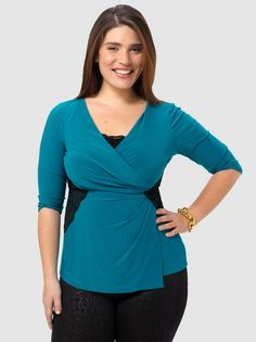 Hourglass Lace Top In Teal & Black