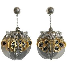Prada Brand New Sold Out SS 16 Runway Jumbo Sequin Rhinestone Disco Earrings | From a unique collection of vintage dangle earrings at https://www.1stdibs.com/jewelry/earrings/dangle-earrings/