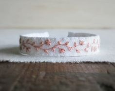 Hand Embroidered Fabric Cuff Bracelet Brown and Black by Sidereal