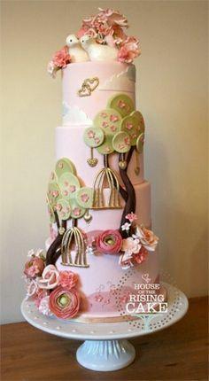Wedding Cake. Birds & trees & flowers.