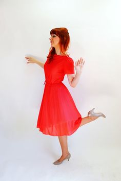 Sale  Red Swing Dress Dancing Day Dress Office by gogovintage, $38.00