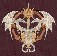 Steampunk Alchemy Caduceus - Embroidered Linen Kitchen Towel with YOUR CHOICE of Colored Border