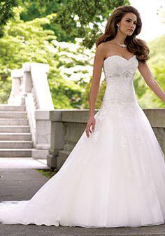 lace a-line natural waist sleeveless sweetheart chapel train wedding dress