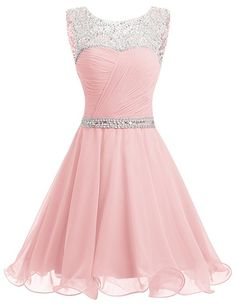 Dresstells® Short Chiffon Open Back Prom Dress With Beading Homecoming Dress Pink Size 6