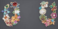 "DIOR. ""Diamond Flower Garland"" earrings in yellow and white gold, diamonds, Mandarin garnets, emeralds, cultured pearls, pink sapphires, Paraiba tourmalines, pink spinels, pink tourmalines, red spinel, sapphires, turquoise, fire opals, hauynes, tsavorite and spessartite garnets, amethyst, rubies and yellow diamond #DIOR #DIORÀVersaillesCôtéJardins #DIORJewellery #HighJewelry #FineJewellery #HauteJoaillerie"