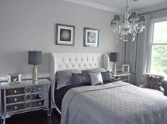 classic_grey_bedroom. Everything on this list is great, but this is my fav. Wish we had a darker flooring... Those rooms tend to look better