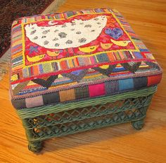 chicken stool cover.  I like how this has a flat wool border making it easier to cover the cushion.  Very cute design also!
