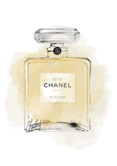 Limited edition Chanel no 5 watercolour print. Hand drawn with pen and watercolour paint. Print is mounted with ivory cardboard mount. Finished