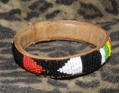 AFRICAN NATIVE AMERICAN oLD gLASS bEADED lEATHER bRACELET bANGLE vALENTINE by PetiesPorch on Etsy