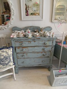 chest of drawers: distressed blue-gray