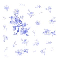 """Watercor Roses"" in blue-violet. Available in fabric, wallpaper and wrapping paper by LilyOake, on Spoonflower."