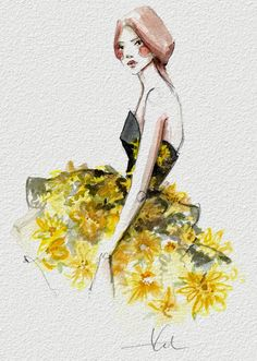 Katie Rodger's fashion illustrations are always exquisite. She recently translated some of her favorite gowns seen on the runways at New York Fashion Week onto paper using watercolors, glitter and sequins.