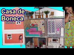 Tutorial: Como fazer uma casa de boneca de papelão para Barbie, Monster High, Frozen, EAH, EG, etc - YouTube