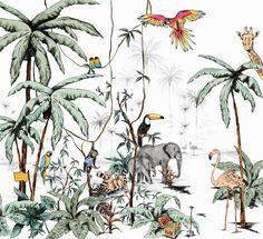 Behang - Wandgrote afbeelding - JUNGLE tonale kleuren