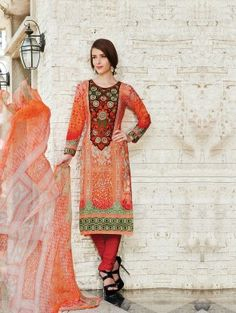 Orange Cotton Suit with Embroidery and Patch Work