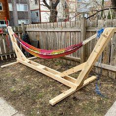 Outdoor Wood Projects, Outdoor Furniture Plans, Lawn Furniture, Diy Wood Projects, Woodworking Projects, Plywood Furniture, Furniture Design, Hammock Frame, Backyard Hammock