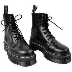 Pre-owned Dr Martens Jadon 8-eye Black Ankle Boots (€125) ❤ liked on Polyvore featuring shoes, boots, ankle booties, black, black pointy booties, pointed booties, black booties, bootie boots and black pointed booties