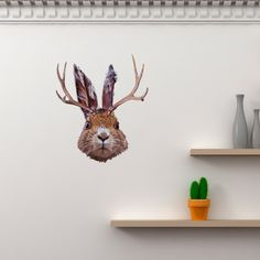 Jackalope - WallsNeedLove Wall Decals - $36.00. Let me tell you a few things about Jackalopes: 1. They can imitate any sound, including a human voice. 2. A female Jackalope can be milked and that milk can be used for medical purposes. 3. They are shy unless approached at which point they become extremely violent. What does this all mean? They make great wall decor. That'll whip your kids into shape I guarantee it.