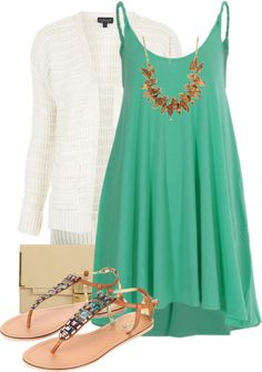 """Green Sundress"" This would look great with some denim or white skinnies underneath! :)"