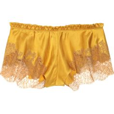 Carine Gilson Silk-satin and lace shorts ❤ liked on Polyvore featuring intimates, panties, lingerie, underwear, shorts, women, lace lingerie, underwear lingerie, lacy lingerie and frilly lingerie
