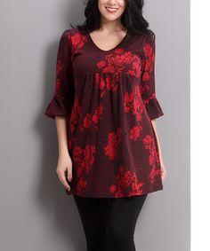 Look at this #zulilyfind! Burgundy Floral Bell-Sleeve Empire-Waist Tunic - Plus #zulilyfinds
