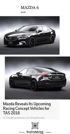Mazda 6 racing concept - full body aerodynamic kits, new alloy wheels, upgraded interior upholstery and more. Mazda 6 is presented with sport seats and cleaned up but aggressively styled exterior (source: Hypebeast).